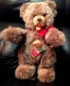 """Vintage Hermanns Teddy Bear ~ Growler with Open Mouth ~ Jointed 14"""" West Germany #Hermanns"""