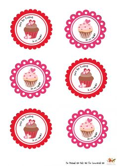 Chocolate Cupcakes with Red Velvet Frosting Printable Tags, Free Printables, Printable Valentine, Red Velvet Frosting, Cupcake Illustration, Dark Chocolate Cupcakes, Birthday Cupcakes, Valentine Cupcakes, Heart Cupcakes