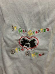 "Maternity Shirt with Mickey and Minnie "" it all started with a kiss"" www.thebabyburp.com"