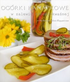ogórki kanapkowe w zalewie słodko-kwaśnej Sugar Free Desserts, Polish Recipes, Canning Recipes, Viera, Chutney, Side Dishes, Appetizers, Food And Drink, Homemade
