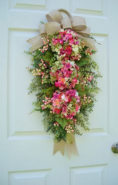 Hydrangea Wreath Swag Pink English Garden with Burlap Ribbon Tails Winter Spring Summer Fall Front Door Timeless Floral Creations