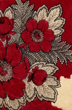 Antique Red and Cream Textile
