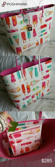 Kate Spade Len Popsicle Tote This darling tote is sure to get you tons of compliments this summer. Perfect beach tote, picnic bag or simply take along to farmers market. Perfect for everyday use. Easily wipes clean. Ideal for garden parties as well. Would make a lovely gift! ♡   Matching wallet available!   No dust bag included.   NO TRADES , THANKS :) kate spade Bags Totes