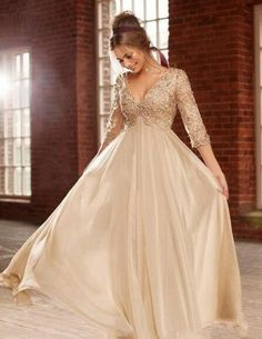 Cheap champagne gold wedding dresses, Buy Quality champagne crystal directly from China dress couture Suppliers: 2016 New Arrival Sexy Deep V Neck Half Sleeves Champagne Chiffon Long Prom Dresses With Beaded Lace Top Formal Evening Dresses Prom Dresses Lace Sleeves, Modest Prom Gowns, Gold Bridesmaid Dresses, Chiffon Evening Dresses, Formal Evening Dresses, Sexy Dresses, Dresses 2014, Dress Prom, Bride Dresses