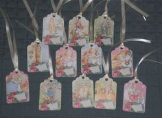 12 Beatrix Potter Easter Bunny Rabbit Card Stock Hang Tags Party Decor Baskets Mini Tree Ornaments Gift Ties by ChooseMoose on Etsy