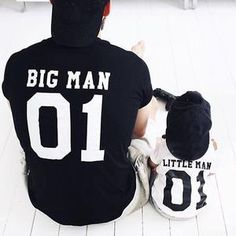 mini me father and son T- shirt matching daddy sports jersey tee Big Man Little Man