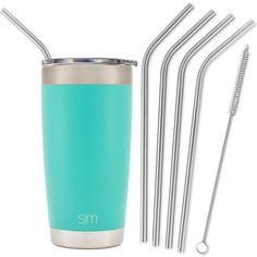 Simple Modern Stainless Steel Straws - 4 Pack with Cleaning Brush for 20oz Tumblers - Reusable Drinking Straw Fits in Simple Modern Cruiser, Yeti, RTIC and More Cup Lids