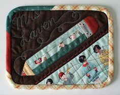Pencil MugRug | Blogged | PatchworkPottery | Flickr