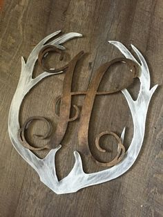 Monogrammed Deer Antler Rustic Whitewash Wall Decor