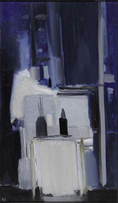 Blue Studio   -   Nicolas de Staël,  1955,  French-Russian 1914-1955  Oil on canvas, 195 x 114 cm,