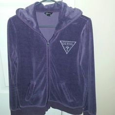 Guess purple velour zip up jacket Nice purple color, gently worn and in great condition looks brand new, and it's super comfy and keeps you warmer than I tought it would. Guess Jackets & Coats