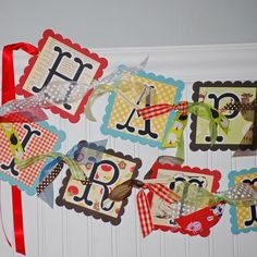 cute mixed paper banner / farm theme by candy Farm Birthday, Baby First Birthday, Birthday Party Themes, Birthday Ideas, Family Birthdays, First Birthdays, Back To School Art, Scrapbook Paper Crafts, Scrapbooking