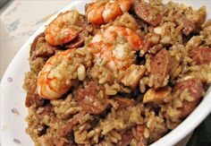 Chicken, Sausage and Shrimp Jambalaya...    This was very easy and very good!!  The girls even liked it.