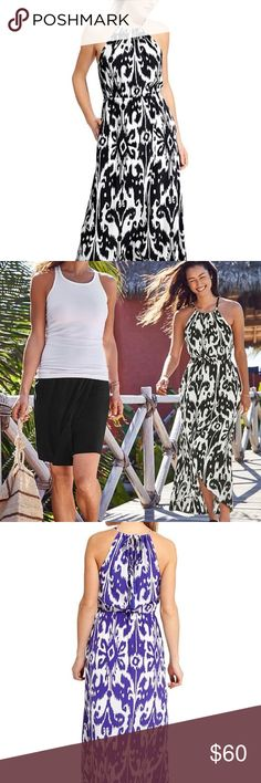 "ATHLETA 🌺 IKAT BLOOM RIPPLE MAXI DRESS + POCKETS! This unbelievably-lightweight, breezy maxi dress with built-in support & a flattering high neck is perfect for every adventure w/ a breathable, machine-washable fabric. This dress is SO COMFY! Purchased from Athleta, worn once & is now too big 😞   ‼️THIS IS BLACK+WHITE FLORAL PRINT‼️  * Semi-fitted w/ adjustable tie neck * Elastic waist * High-low Maxi style * Built-in mesh bra w/ removable cups for extra coverage * POCKETS! 😍 * 55.5"" long…"