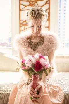 blush pink dress + fuchsia bouquet // photo by Ruth Anne Photography Ballroom Wedding Dresses, Pink Wedding Dresses, Flower Girl Dresses, Blush Wedding Colors, Blush Pink Weddings, Wedding Bride, Gown Wedding, Bouquet Wedding, Wedding Bells