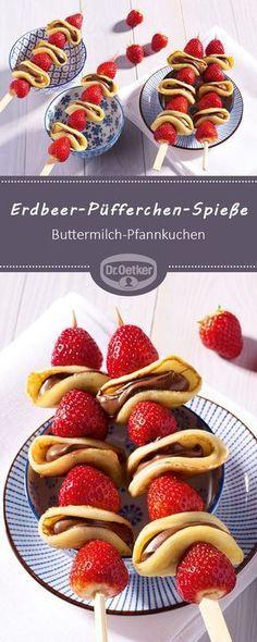 Erdbeer-Püfferchen-Spieße: Ein fruchtiger Snack aus Erdbeeren und Buttermilch-… Strawberry Pufferer Skewer: A fruity snack made from strawberries and buttermilk pancakes # Strawberry skewers Erdbeer-Rezepte Smoothie Recipes, Snack Recipes, Dessert Recipes, Cooking Recipes, Brunch Recipes, Smoothie Detox, Pancake Recipes, Smoothie Bowl, Drink Recipes