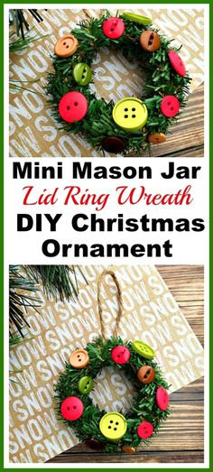 Want to make a fun DIY Christmas tree ornament with your kids? Then you have to put together this cute mini Mason jar lid ring wreath ornament! | Christmas craft, holiday DIY, mini wreath ornament
