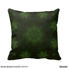 Green abstract wood throw pillows