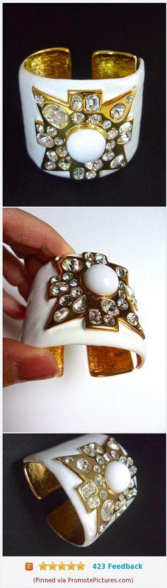 KENNETH J LANE White Enamel Maltese Cross Cuff Bracelet, Hinged, Mogul, Vintage #cuffbracelet #kennethjlane #kjl #whiteenamel #mogul #22ktplate #vintage #hinged #whitebracelet https://www.etsy.com/RenaissanceFair/listing/519250668/kenneth-j-lane-white-enamel-maltese?ref=shop_home_active_1  (Pinned using https://PromotePictures.com)