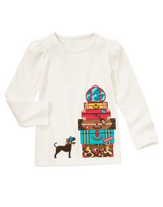 Bon voyage! Fun tee made from super soft cotton features a tower of glammed up suitcases and a fashionable dog. WARNING: CHOKING HAZARD - Small parts. Not for children under 3