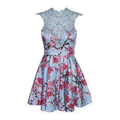 Emily Blue Cherry Blossom Lace Dress