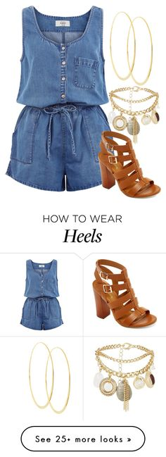 """""""Summer Blue Denim Romper with Pockets and Brown High Heeled Sandals with Gold Hoop Earrings"""" by danihope on Polyvore featuring Lana, New Look and Bamboo"""