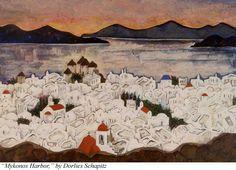 """""""Mykonos Harbor,"""" by Dorlies Schapitz"""