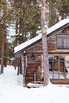 winter cabin, lapland, finland