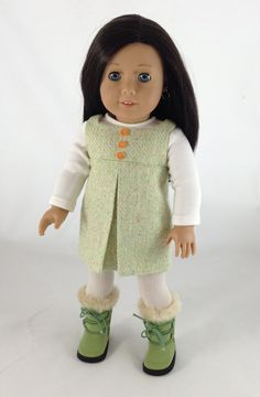 Pleated lime jumper by MjsDollBoutique18T. Made following the Inspired by Zooey Dress pattern. Get it at http://www.pixiefaire.com/products/inspired-by-zooey-dress-18-doll-clothes. #pixiefaire #inspiredbyzooey