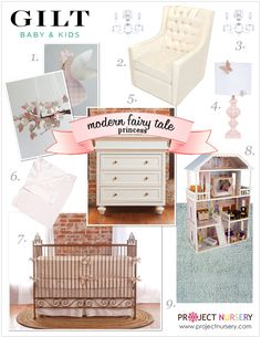 "Project Nursery's ""Modern Fairy Tale"" Design Board. Fit for a Princess. #baby #nursery #gilt"