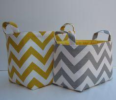 grey and yellow chevron baskets--looks like the same fabric @Ginine Ledbetter??