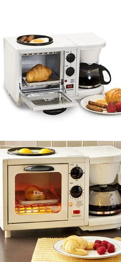 Multifunction breakfast station // all-in-one four-cup coffeemaker, timer-controlled toaster oven and 6-inch frying griddle! #product_design