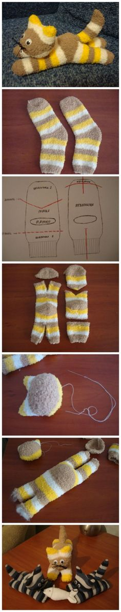 DIY Cute Sock Kitten Sock animals are cute and very fun to make. Most important, you don't need to have special skills to create a sock toy, as it is a very easy project. To complete your sock animal collection, here's a cool tutorial on how to mak Sock Crafts, Cute Crafts, Crafts To Make, Fabric Crafts, Sewing Crafts, Crafts For Kids, Easy Crafts, How To Make Toys, Kids Diy
