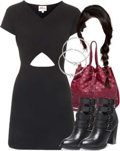 Annie Greenabelle black wrap dress, $29 / Laundry List black strap boots / MBaoBao quilted purse / Bling Jewelry sterling silver bow bracelet