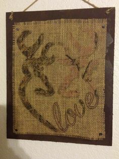 Handmade Burlap Wood Sign. Pink / Camo Browning Buck and Doe, Love, Country Art
