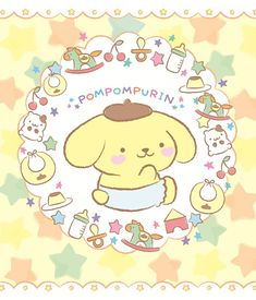 Pompompurin x Cookie Queens baby dog Sanrio Wallpaper, Hello Kitty Wallpaper, Sanrio Danshi, Birthday Wallpaper, Cute Posts, Line Friends, Little Twin Stars, Kawaii Drawings, Kawaii Art