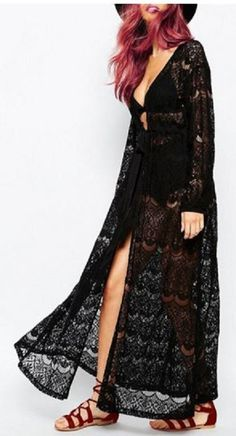 Black Bohemian Style Openwork Lace Plunging Neck Long Sleeve Cover Up #Black #Lace #Bohemian #Style #Beach #Cover_Up #Fashion