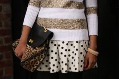 polka dots, stripes and gold... what more can I ask for?! and, i'm dying for that top!!!