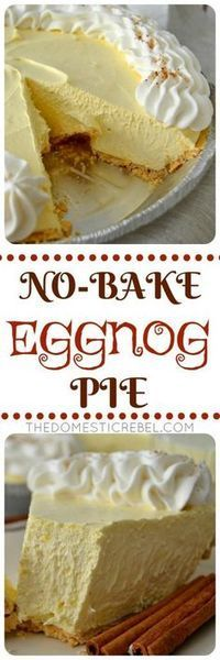 This No-Bake Eggnog Cream Pie is so perfect for the holidays! Creamy, smooth vanilla & nutmeg-flavored cream pie with a buttery graham cracker crust. Easy, impressive and a one of a kind dessert! (no bake oreo cake products) Dessert Dips, Pie Dessert, Dessert Recipes, Appetizer Dessert, Recipes Dinner, Brunch Recipes, Holiday Baking, Christmas Desserts, Christmas Baking