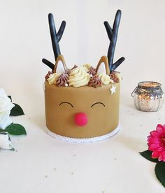 Cake design - Rudolf - Renne - Chocolat Mini Cakes, Cupcake Cakes, Chrismas Cake, Reindeer Cakes, Christmas Cake Designs, Fondant, Cake Decorating Designs, Christmas Party Food, Cute Cakes