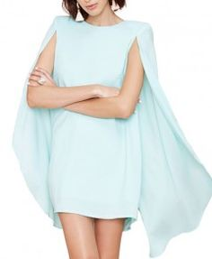 Shoulder Pad Bat-wing Sleeves Dovetailed Dress
