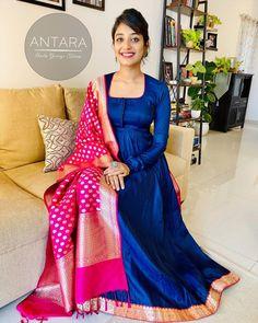 Silk Kurti Designs, Kurta Designs Women, Kurti Designs Party Wear, Blouse Designs, Indian Gowns Dresses, Indian Fashion Dresses, Indian Designer Outfits, Girls Dresses, Lehenga Saree Design