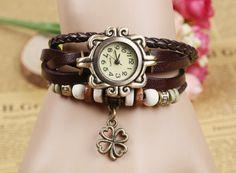 Fashion Vintage four-leaf clover pendant Genuine Cow Leather Watch women ladies men dress quartz wrist watch kow065 #Affiliate