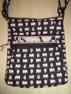 31ed1583d273 Vera Bradley Rare Retired Pink Elephants Large Hipster Shoulder~Crossbody  Purse