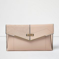 2e66cc8cda blush pink envelope clutch bag with gold bar by River Island. Leather look  Suede look detail Gold metal detail Snap fastening RI branding