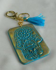 Hamsa Key Chain Hamsa Bag Charm - Kaf/Hand of Miriam/Handy of Virgin Mary/Hand of Fatima turquoise blue protection accessories Golden Key, Hand Of Fatima, Bubble Envelopes, Organza Gift Bags, Virgin Mary, Hamsa, Key Chain, Polymer Clay, Charmed