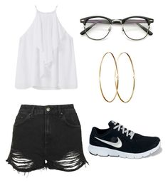 """Untitled #221"" by imane-alone on Polyvore featuring MANGO, Topshop, NIKE and Jennifer Meyer Jewelry"
