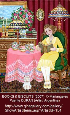 BOOKS AND BISCUITS (2007) © Mariangeles Puente DURAN (Artist, Buenos Aires, Argentina) ...Naive Art ... Tea Time, Good China, Cookies, Lady Reading Book, Pet, Dog.