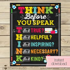Think Before You Speak Sign - Classroom Rules - Classroom Decor - Instant Download  - Classroom Printables - Inspirational Classroom Sign