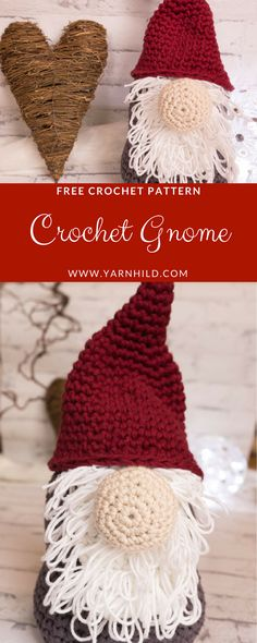Knitting and Crochet Christmas - Crochet Christmas Gnome Free crochet pattern. Christmas Crochet Patterns, Crochet Christmas Ornaments, Holiday Crochet, Christmas Gnome, Crochet Home, Crochet Gifts, Quick Crochet, Free Crochet, Amigurumi Patterns